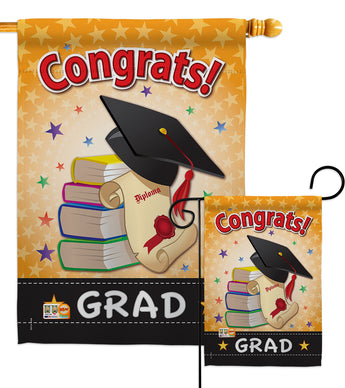 Congrats Grad - School & Education Special Occasion Vertical Impressions Decorative Flags HG115064 Made In USA