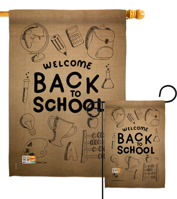 Welcome Back - School & Education Special Occasion Vertical Impressions Decorative Flags HG115106 Made In USA