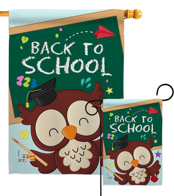 Whoo Back to School - School & Education Special Occasion Vertical Impressions Decorative Flags HG137210 Made In USA