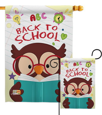 Owl Back to School - School & Education Special Occasion Vertical Impressions Decorative Flags HG137211 Made In USA