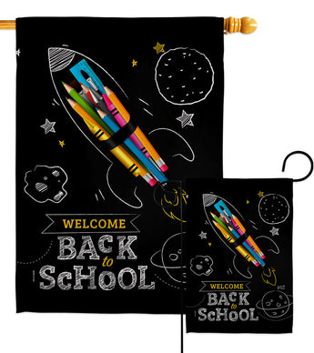 Weclome Back to School - School & Education Special Occasion Vertical Impressions Decorative Flags HG137425 Made In USA