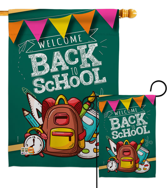 Welcome Back - School & Education Special Occasion Vertical Impressions Decorative Flags HG192213 Made In USA