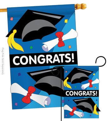 Congrats - School & Education Special Occasion Vertical Applique Decorative Flags HG115048