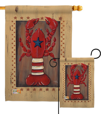 Patriotic Lobster - Sea Animals Coastal Vertical Impressions Decorative Flags HG107055 Made In USA
