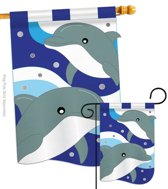 Dolphins - Sea Animals Coastal Vertical Applique Decorative Flags HG107025