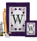 Classic W Initial - Simply Beauty Interests Vertical Impressions Decorative Flags HG130023 Made In USA