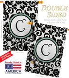 Damask C Initial - Simply Beauty Interests Vertical Impressions Decorative Flags HG130055 Made In USA