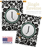 Damask J Initial - Simply Beauty Interests Vertical Impressions Decorative Flags HG130062 Made In USA