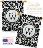 Damask W Initial - Simply Beauty Interests Vertical Impressions Decorative Flags HG130075 Made In USA