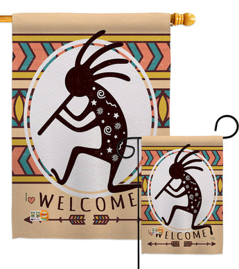 Welcome Kokopelli Dance - Southwest Country & Primitive Vertical Impressions Decorative Flags HG115144 Made In USA