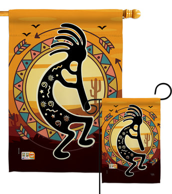 Kokopelli Playing Flute - Southwest Country & Primitive Vertical Impressions Decorative Flags HG115145 Made In USA