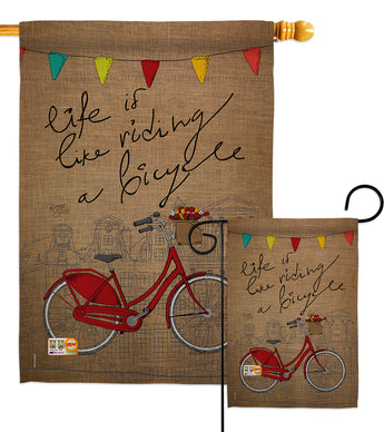 Bicycle Life - Sports Interests Vertical Impressions Decorative Flags HG109044 Made In USA