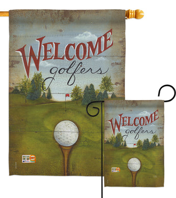 Welcome Golfers - Sports Interests Vertical Impressions Decorative Flags HG109064 Made In USA