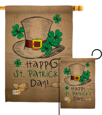 St Pat's Hat - St Patrick Spring Vertical Impressions Decorative Flags HG102031 Made In USA