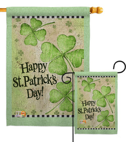 St. Patrick's Day Clover - St Patrick Spring Vertical Impressions Decorative Flags HG102032 Made In USA