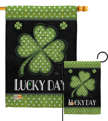 Lucky Day Clover - St Patrick Spring Vertical Impressions Decorative Flags HG102055 Made In USA