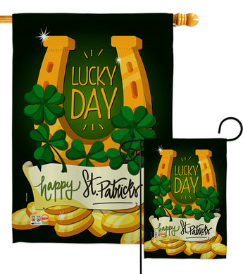Lucky Day - St Patrick Spring Vertical Impressions Decorative Flags HG102058 Made In USA