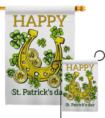 Lucky Shamrocks - St Patrick Spring Vertical Impressions Decorative Flags HG102062 Made In USA