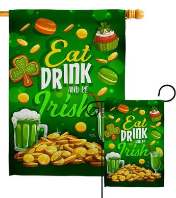Eat Drink Be Irish - St Patrick Spring Vertical Impressions Decorative Flags HG102064 Made In USA