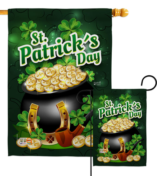 Lucky Gold Pot - St Patrick Spring Vertical Impressions Decorative Flags HG137149 Made In USA