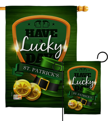 Have A Lucky Day - St Patrick Spring Vertical Impressions Decorative Flags HG192157 Made In USA