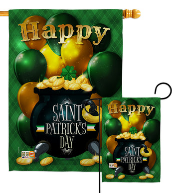 Lucky Gold Pot - St Patrick Spring Vertical Impressions Decorative Flags HG192158 Made In USA