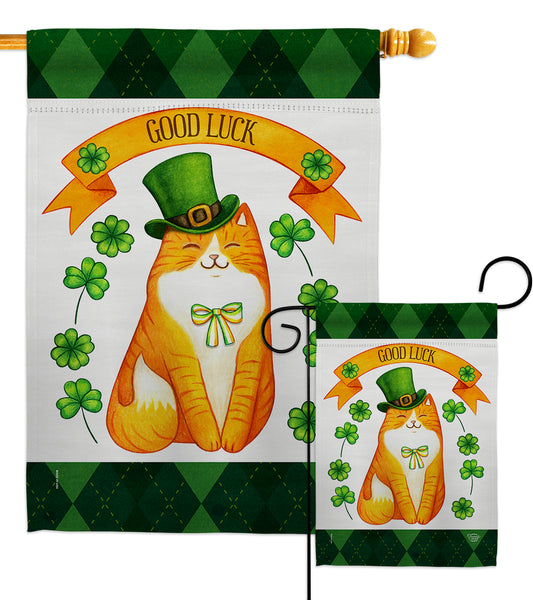 Patty Kitty - St Patrick Spring Vertical Impressions Decorative Flags HG192303 Made In USA