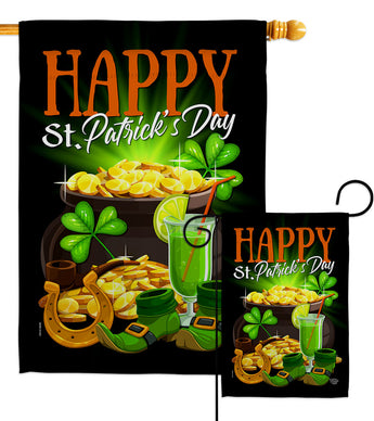 Happy Saint Patrick Day - St Patrick Spring Vertical Impressions Decorative Flags HG192433 Made In USA