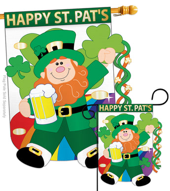 Happy St. Pat's - St Patrick Spring Vertical Applique Decorative Flags HG102019