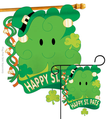 St. Pat's 3D - St Patrick Spring Vertical Applique Decorative Flags HG102021