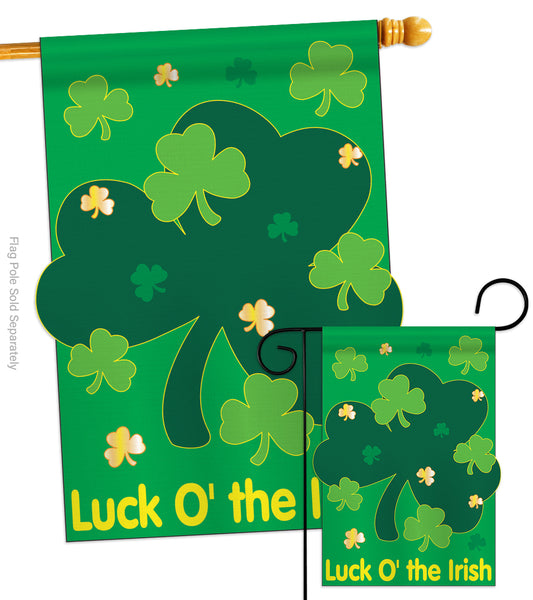 Luck O' the Irish - St Patrick Spring Vertical Applique Decorative Flags HG102022