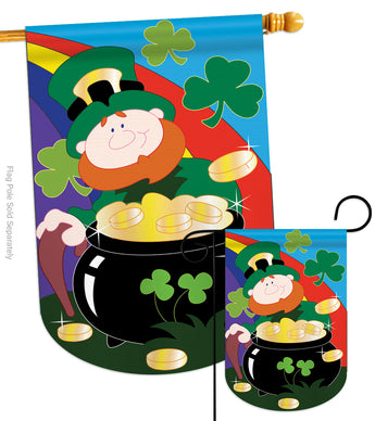 Lucky Irish - St Patrick Spring Vertical Applique Decorative Flags HG102023