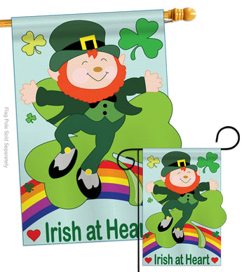 Irish At Heart Garden - St Patrick Spring Vertical Applique Decorative Flags HG102024