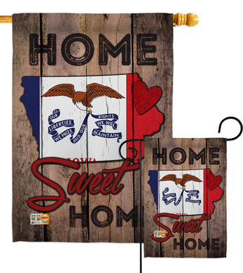 State Iowa Home Sweet Home - States Americana Vertical Impressions Decorative Flags HG191129 Made In USA