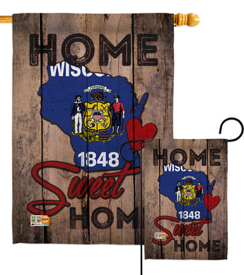 State Wisconsin Home Sweet Home - States Americana Vertical Impressions Decorative Flags HG191133 Made In USA