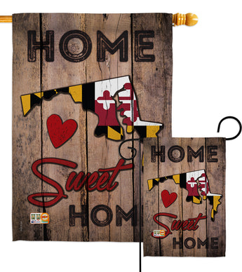 State Maryland Home Sweet Home - States Americana Vertical Impressions Decorative Flags HG191158 Made In USA