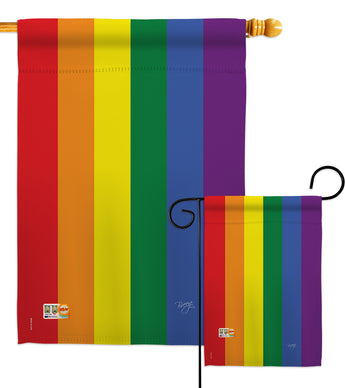 Rainbow - Support Inspirational Vertical Impressions Decorative Flags HG115100 Made In USA