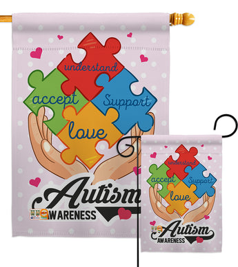 Autism Awareness Support - Support Inspirational Vertical Impressions Decorative Flags HG137046 Made In USA