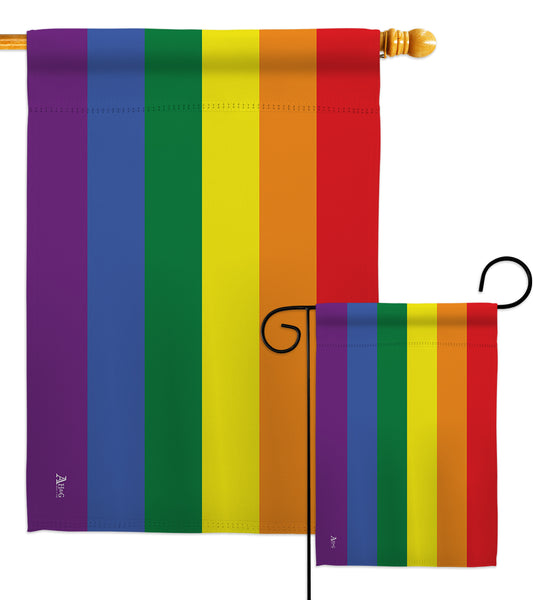 Rainbow - Support Inspirational Vertical Impressions Decorative Flags HG148640 Made In USA