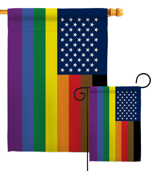 US Philadelphia Rainbow  - Support Inspirational Vertical Impressions Decorative Flags HG148642 Made In USA