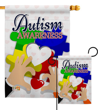 Love Autism Awareness - Support Inspirational Vertical Impressions Decorative Flags HG192068 Made In USA