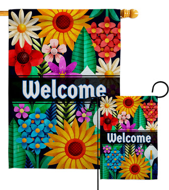Colorful Floral - Sweet Home Inspirational Vertical Impressions Decorative Flags HG137515 Made In USA