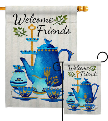 Friends & Tea - Sweet Home Inspirational Vertical Impressions Decorative Flags HG137516 Made In USA