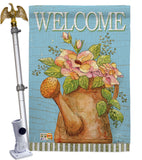 Welcome Watering Can - Sweet Home Inspirational Vertical Impressions Decorative Flags HG100051 Made In USA