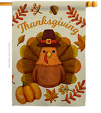 Pilgrim Turkey - Thanksgiving Fall Vertical Impressions Decorative Flags HG192283 Made In USA