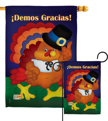 ¡Demos Gracias! - Thanksgiving Fall Vertical Impressions Decorative Flags HG113037S Made In USA