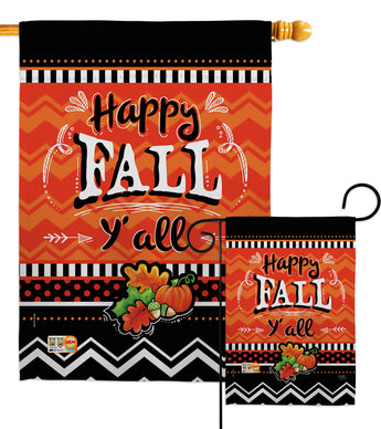 Happy Fall - Thanksgiving Fall Vertical Impressions Decorative Flags HG113055 Made In USA