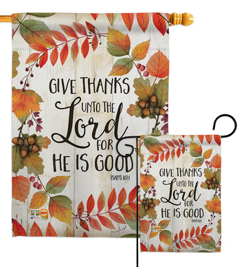 Give Thanks Unto the Lord - Thanksgiving Fall Vertical Impressions Decorative Flags HG113069 Made In USA