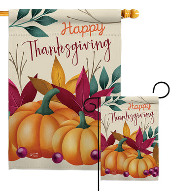 Pumpkin Thanksgiving - Thanksgiving Fall Vertical Impressions Decorative Flags HG137281 Made In USA