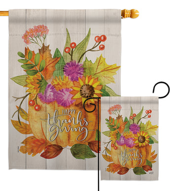 Thanksgiving Bouquet - Thanksgiving Fall Vertical Impressions Decorative Flags HG137283 Made In USA